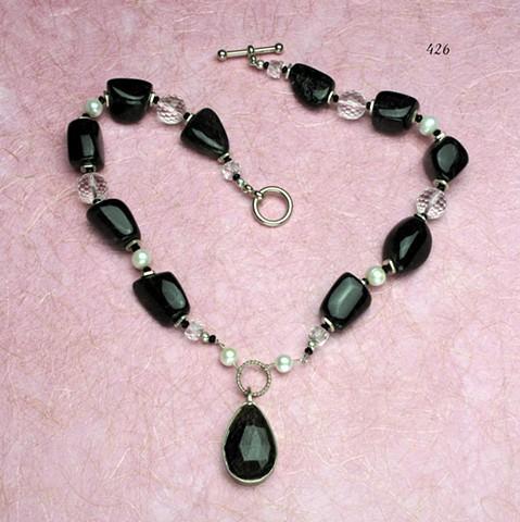 tourmalated quartz,  pearls, rock quartz, silver findings (426)