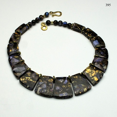purple bronzite impression jasper collar accented with Nigerian brass and finished with a 24kt vermeil clasp (#395)