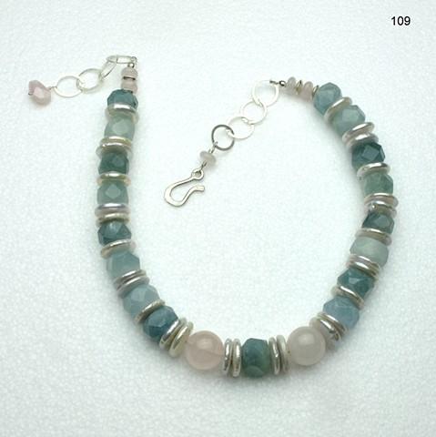 faceted aquamarine rondels, baroque disc pearls, rose quartz, silver chain & clasp (#109)