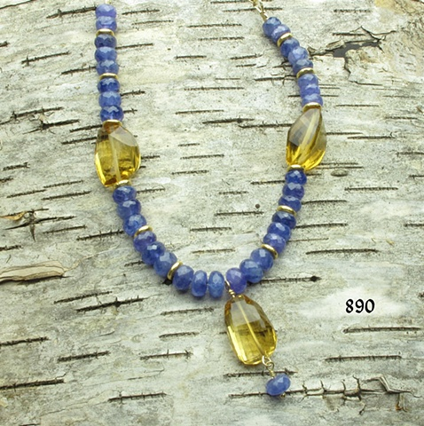faceted tanzanite w/ large faceted citrine, gold filled chain & clasp, gold plated beads