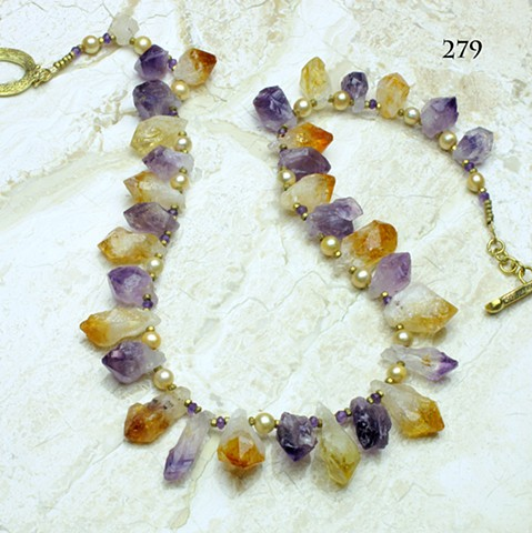 """amethyst & citrine crystal prisms accented with faceted amethyst, champagne pearls & brass findings, toggle closure, 22"""" length ( #279)"""