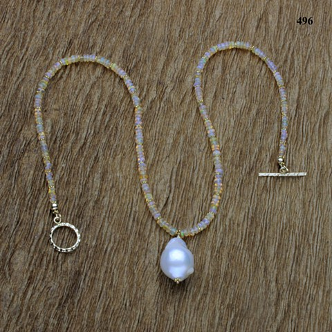 fiery Ethiopian opal rondelles with gold-filled findings and a baroque pearl pendant (#496)