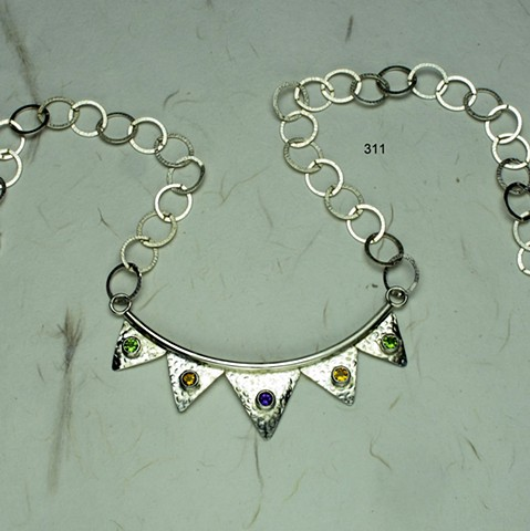 """curved sterling neck piece w/ five 5mm bezel set semi-precious stones, peridot, citrine and amethyst with sterling link chain and lobster clasp (adjustable length, max 21"""") (#311)"""