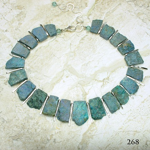 """unpolished German cut chrysocolla w/ forged silver bars, silver chain & lobster clasp, adjustable length (18-22"""") # 268"""
