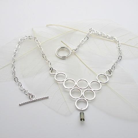 silver circles, tourmaline dangle (#692)
