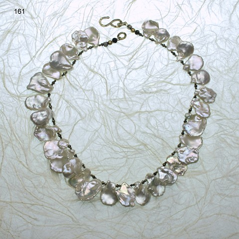 large and luscious keishi pearls accented with faceted pyrite, finished with a vermeil clasp (161)