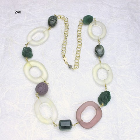 a fun chain, of quartz, adventurine, lava rock, jasper & vermeil chain, w/ g/f lobster clasp (#240)