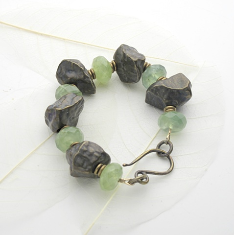 prehnite & brass bracelet (#749)