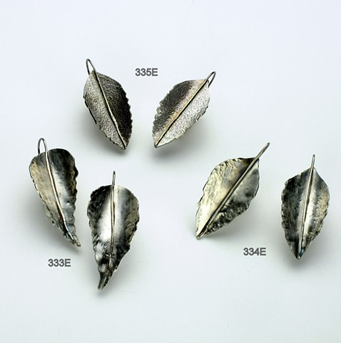 textured forged leaf earrings on silver earwires(#334E &335e SOLD) 333e still available