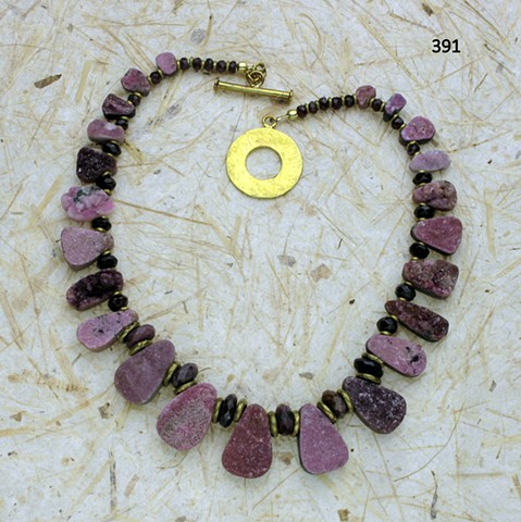 """""""pretty in pink"""", cobalto congolese drusies w/ ruby and garnet rondelles, accented with brass findings (#391)"""