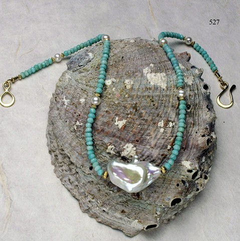 "classic style; amazonite w/ large central baroque pearls, accented with pearls & g/f findings (18"") (#527)"