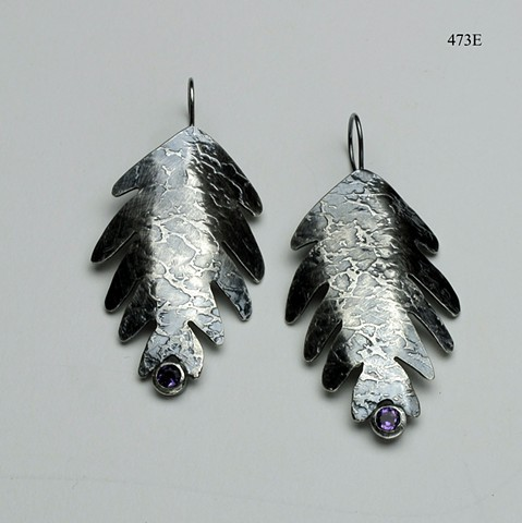 textured silver leaf earrings with 4mm bezel set amethysts on silver ear wires (#473E)