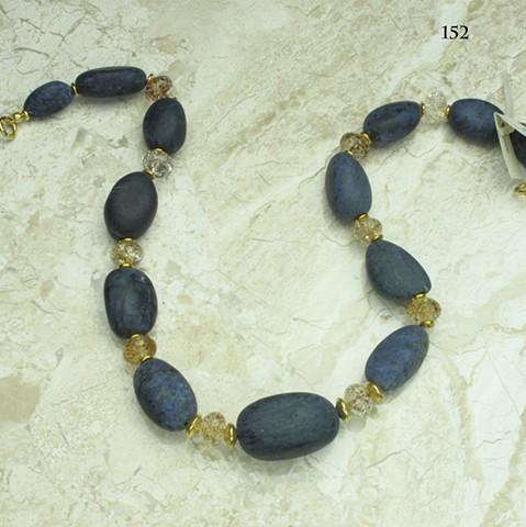 large tumbled sugalite, faceted amber quartz vermeil findings ((152)