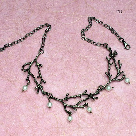 3 oxidized silver branches with dangling pearls  (203)