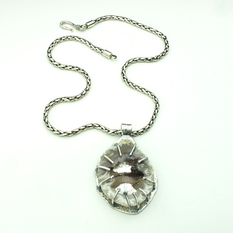 handcrafted silver pendant with crystalized agate slice on heavy silver chain (825)