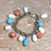 vintage brass chain with turquoise, coral and baroque pearls