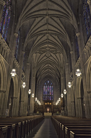 Looking down the aisle at Duke Chapel