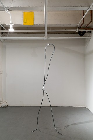 "Amy Green ""Yellow with Fabric Scrap"" 2014 and  Joshua Callaghan ""Paperclip Figure #6"" 2013"