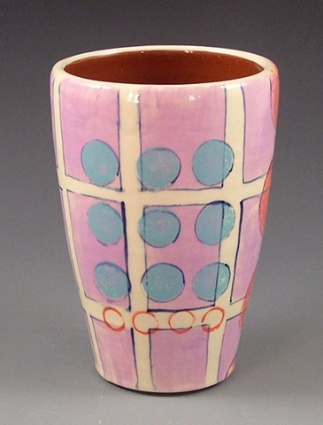 Tumbler, cup, wheel-thrown, handpainted, pink grid, blue dots, orange rings, geometric