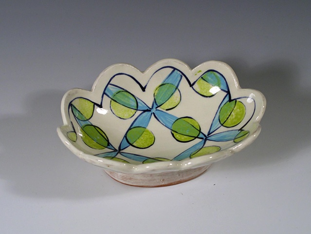 small hand-built oval dish with underglaze decoration