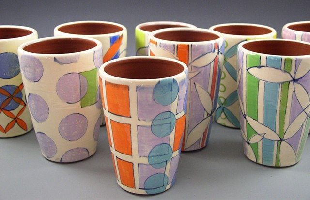 Tumblers, cups, wheel-thrown, handpainted, stripes, grids, dots, flowers, circles, green, lavender, yellow, orange