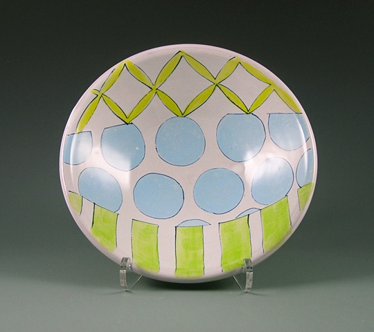 earthenware majolica bowl with strips and dots
