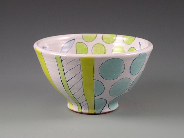 earthenware majolica bowl with green dots and aqua dots
