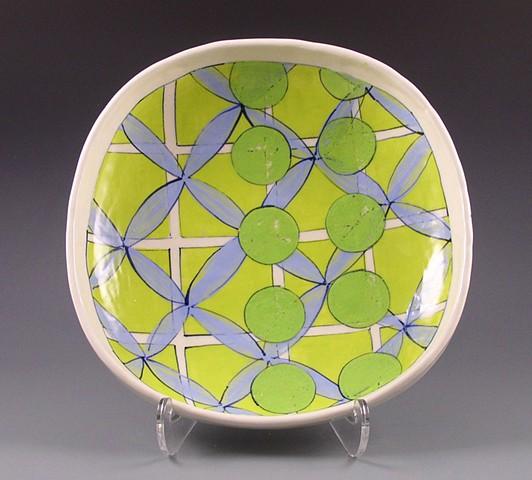 Square serving dish, handbuilt, handpainted, lime grid, green circles, blue flowers, geometric