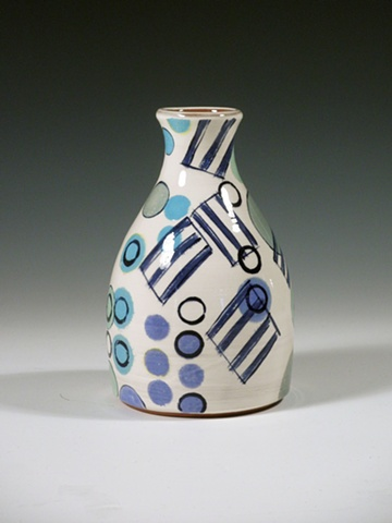 thrown earthenware vase with underglaze decoration and blue dots