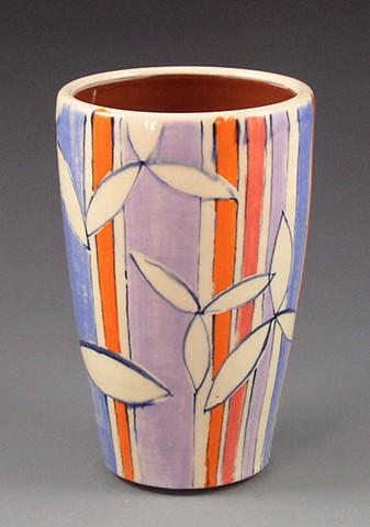 Tumbler, cup, wheel-thrown, handpainted, orange stripes, lavender stripes, red stripes, white flowers