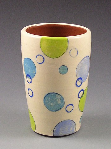 Tumbler, cup, wheel-thrown, handpainted, green dots, blue dots, circles, rings