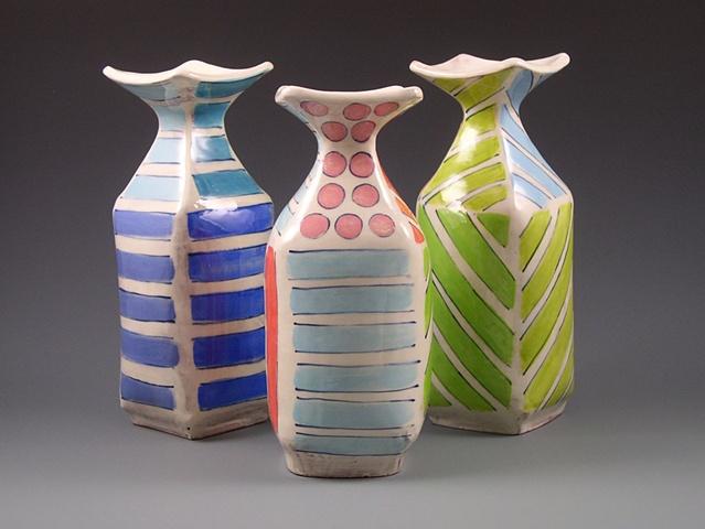 square handbuilt vases with underglaze decoration