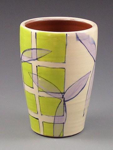 Tumbler, cup, wheel-thrown, handpainted, green grid, lavender flowers, geometric