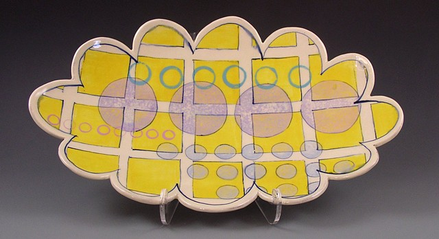 oval platter, large, handbuilt, handpainted decoration, yellow grid, lavender circles,  dots, geometric, scalloped