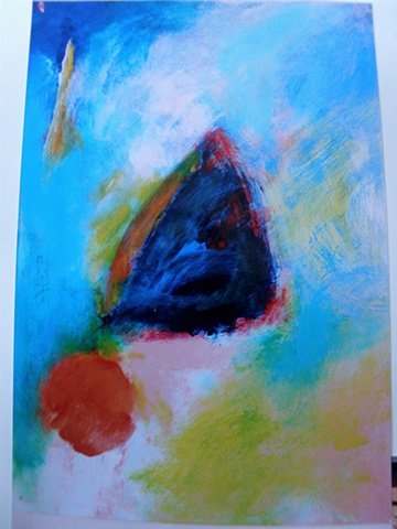 orange ball lower left, blue triangle center, turquoise background upper half (Maryann)