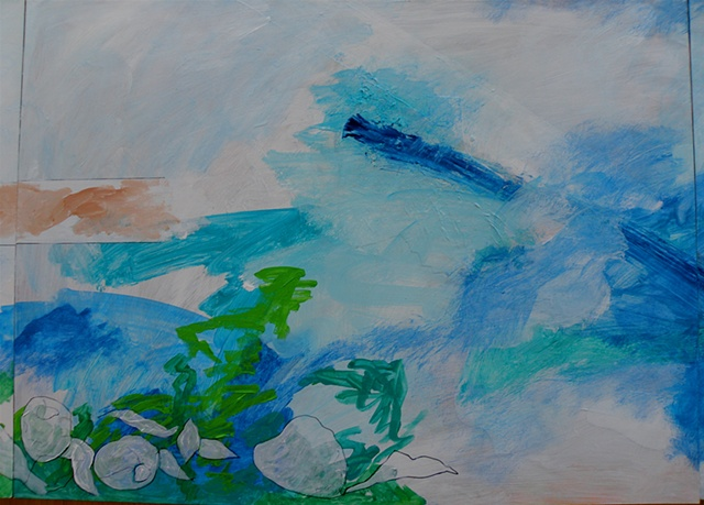 large brushstrokes of blues and greens on white with a sliver of sand
