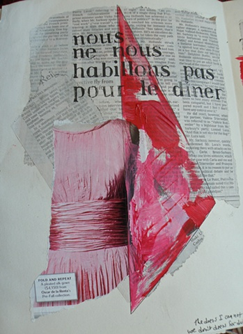 pink Oscar de la Renta dress with folds, nous nous stencil, newspaper behind