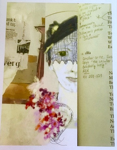 Emily with lace and flowers, bit of Pompeii book, page of poetry with annotation