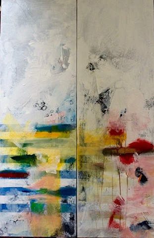 two vertical joined canvases, massive underpainting, lines across