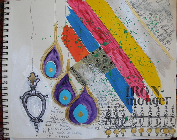 diagonal stripes across top right, iron fence bottom right, three earrings as peacock feathers