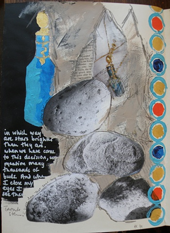 row of blue circles right margin, blue amphora left over black, white writing with GS quote, rocks xerox center
