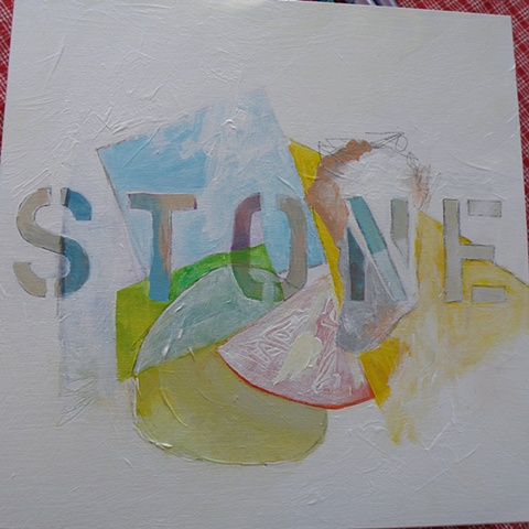 "stencilled ""STONE"" -- orange slice, oyster rock , blue square over ""T"" and ""O"""