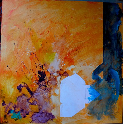 orange wash background, unfolded Emily envelope lower right, purple explosion left
