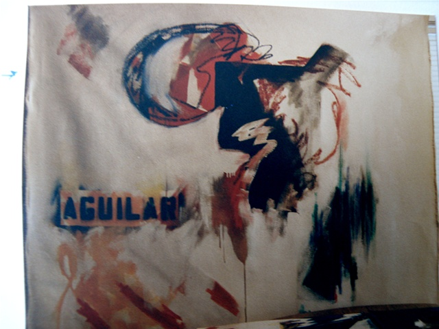 "stencilled ""Aguilar"" and blue outlined circle, black near-square with tracings and thrown paint"