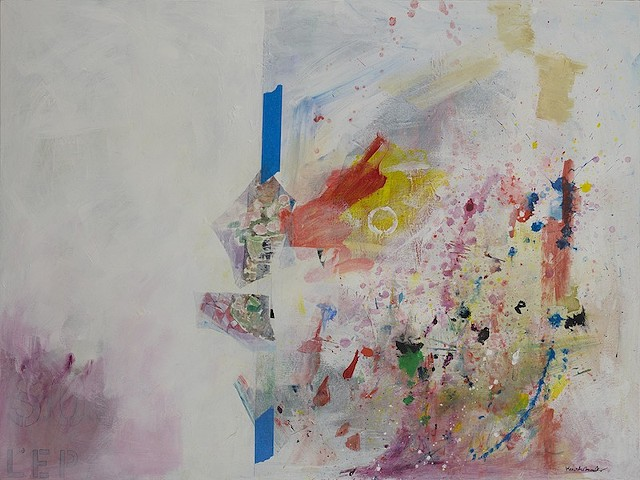 mostly white left part, blue painter's tape, collage, multi-colored drips right side