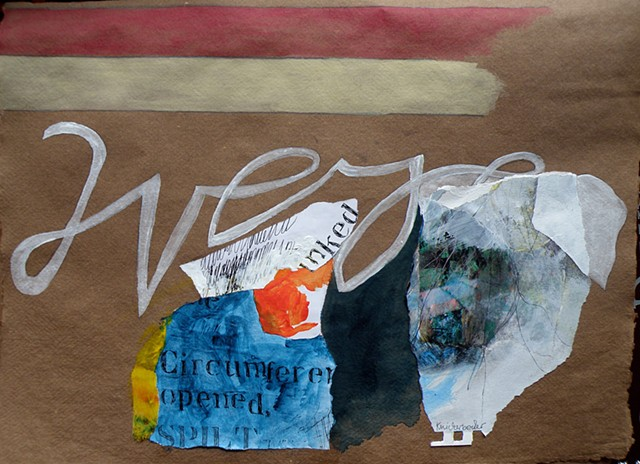 "brown paper, lots of collage, Emily's ""were"""