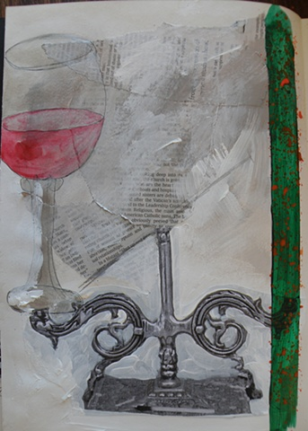 green stripe with red dots right, drawn wine glass left, candlestick collage bottom, newspaper top center