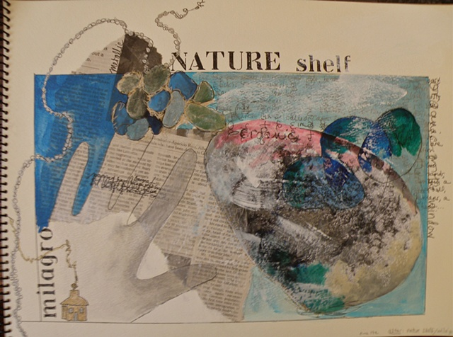 NATURE shelf milagro stencils, traced silver hand, small house, big rock right, sea glass top left