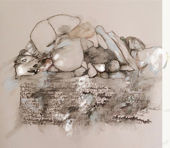 pencil sketch of stones and added writing