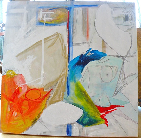 blue nude torso right center, orange form lower left, artist's studio underpinning of verticals and horizontals